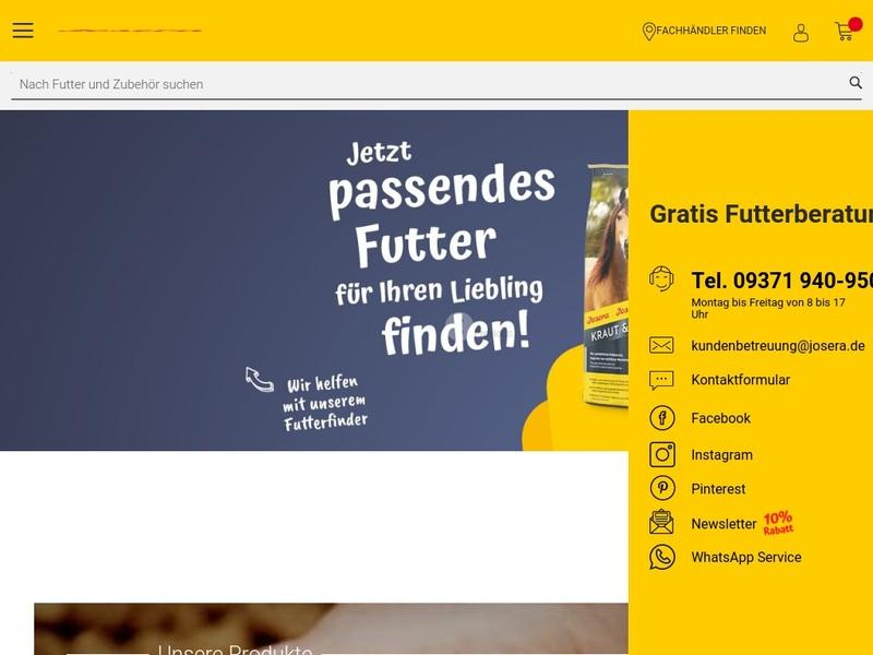 Screenshot von www.josera.de